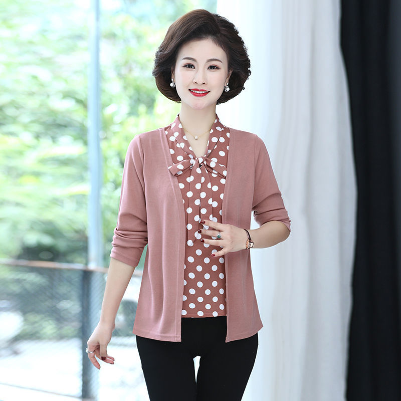 Y45 middle aged and elderly womens wear 2021 spring and autumn new long sleeve fake two piece top mothers loose knit cardigan