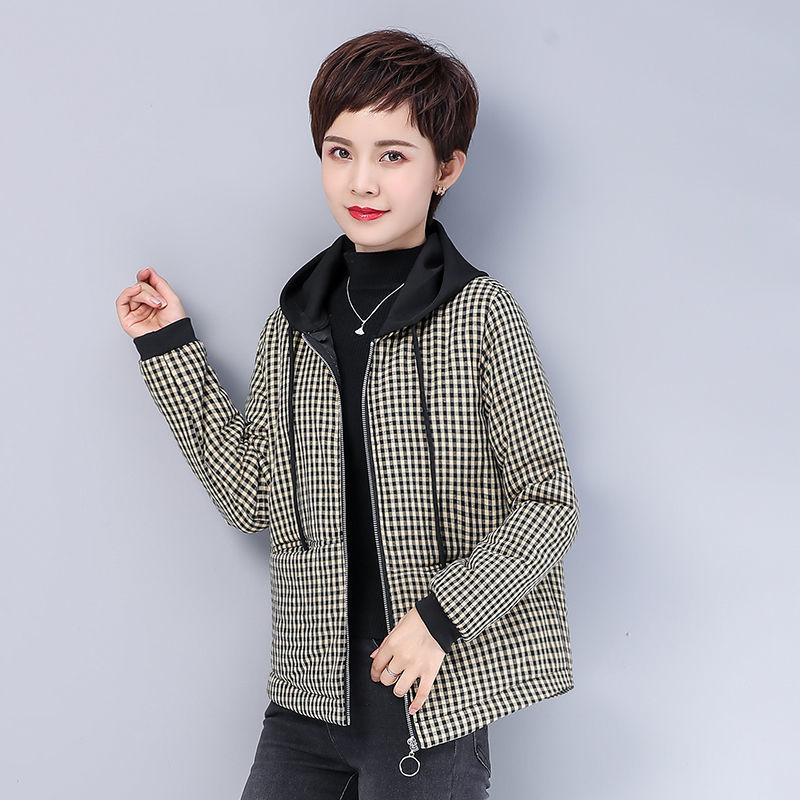 10 winter new cotton padded jacket 40 year old mothers Plaid Jacket Womens middle and old age loose cotton padded jacket zipper jacket