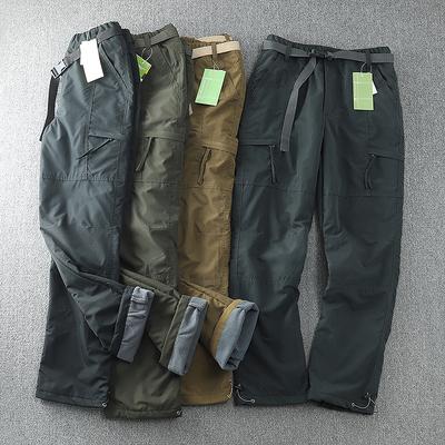 出口德国,防风防水户外加绒软壳裤男士直筒冬季休闲裤多袋工装裤