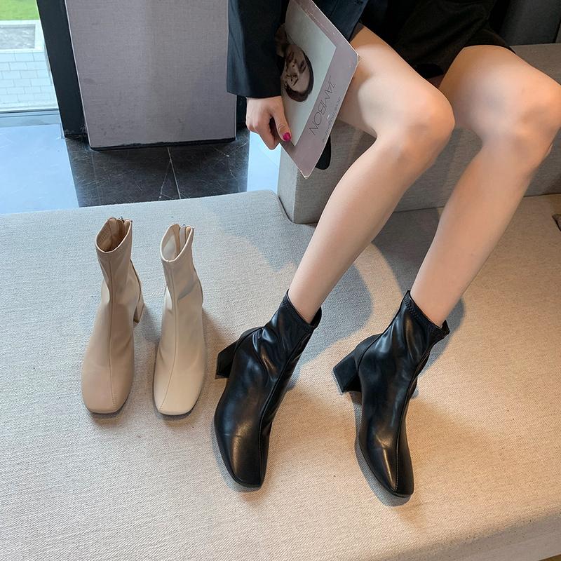 靴子女2020新款春秋粗跟短靴ins潮瘦瘦鞋网红马丁靴百搭高跟单靴