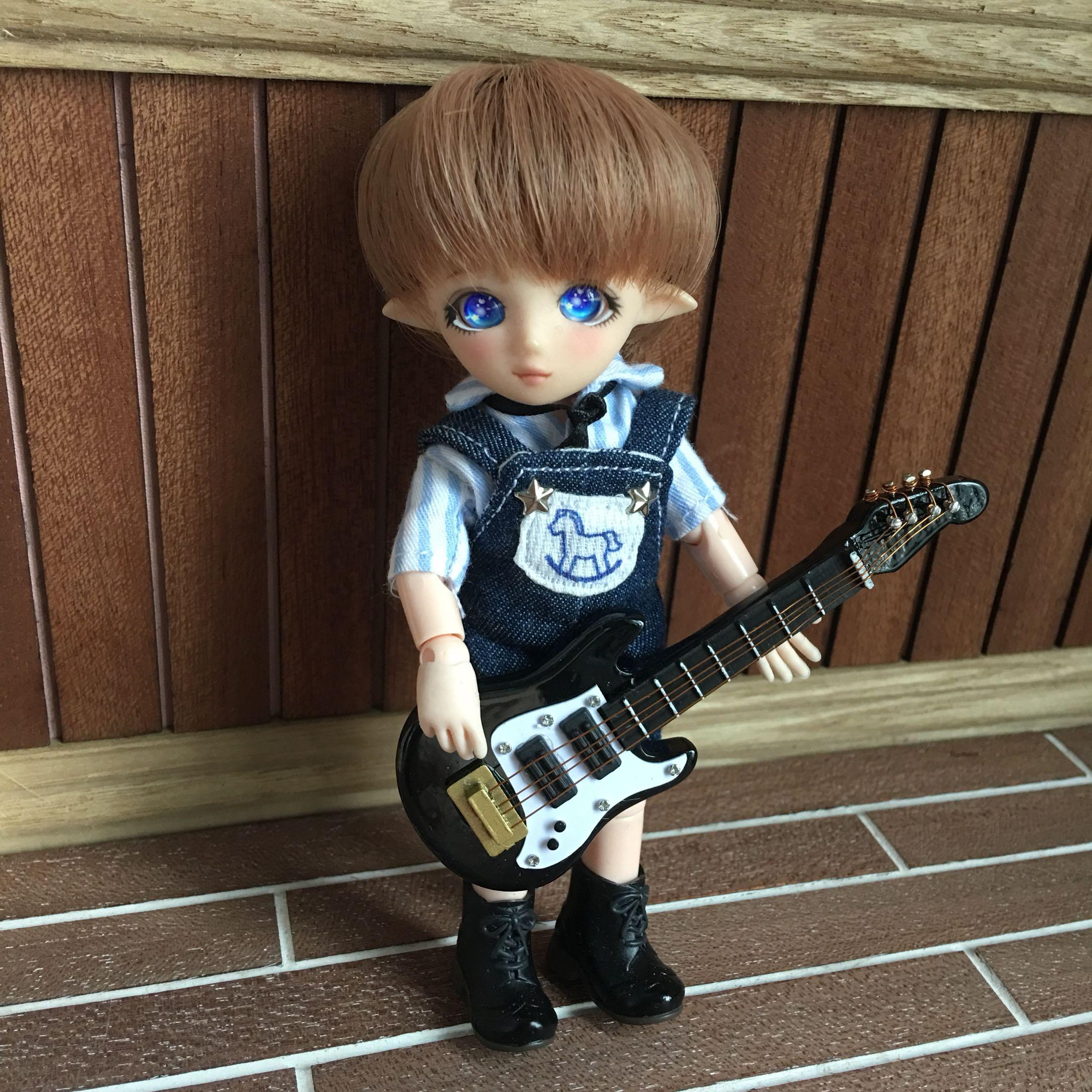 乐器1ob11bjd12道具娃娃12迷你件屋摆贝斯迷你吉他仿真:沙龙