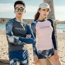 INPERF diving suit female couple men's snorkeling suit sunscreen fast-drying surfing Suit Swimsuit long-sleeved jellyfish suit