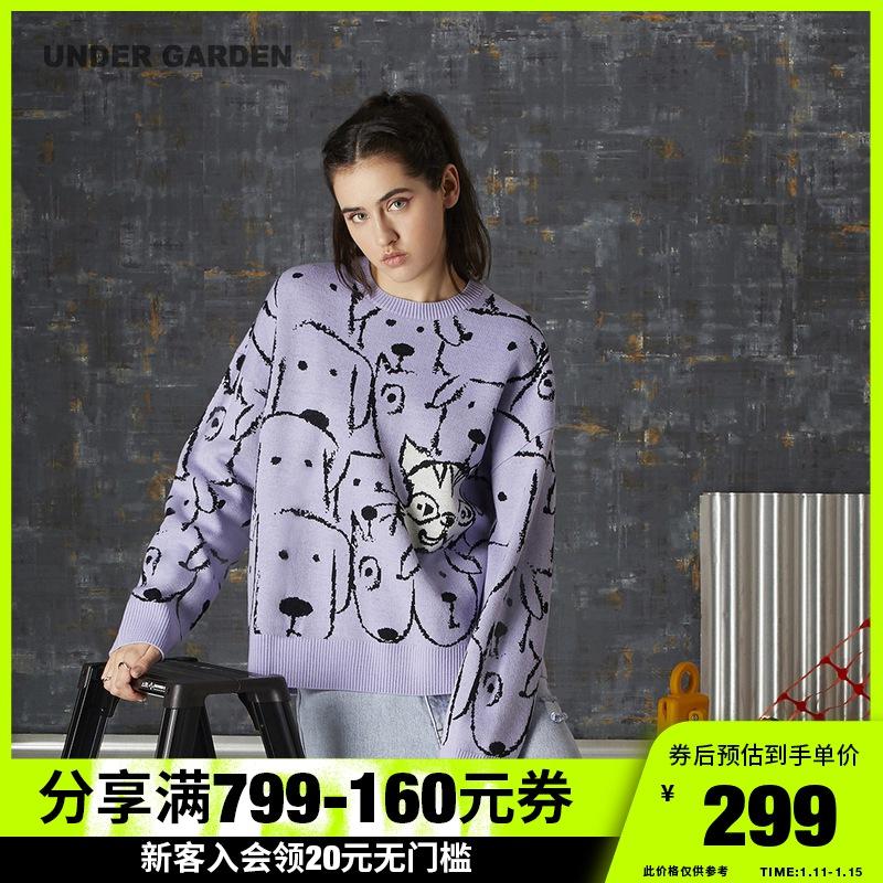UNDER GARDEN圓領寬松針織衫女秋季新品可愛動物嵌花毛衣4605MAF