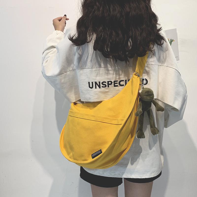 帆布大包包女包新款2020大容量单肩斜挎包女纯色百搭ins休闲布袋