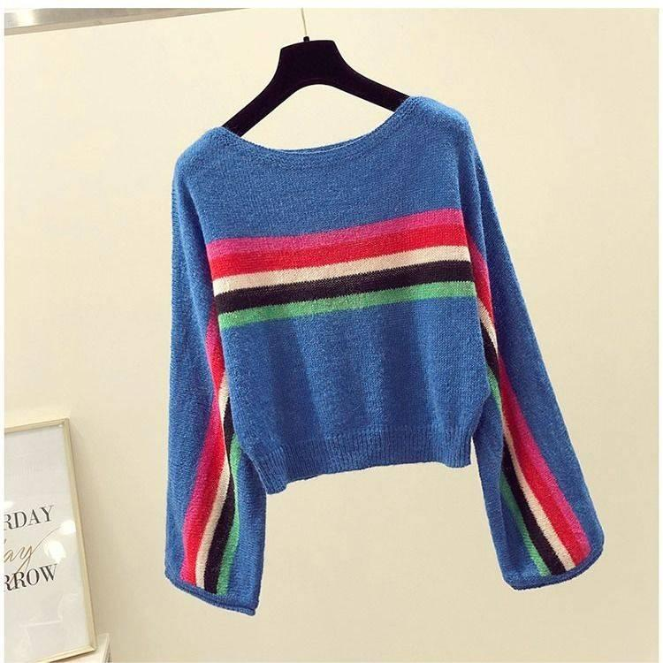 Color striped T-shirt autumn new loose blouse languid sweater womens long sleeve bottom top thin