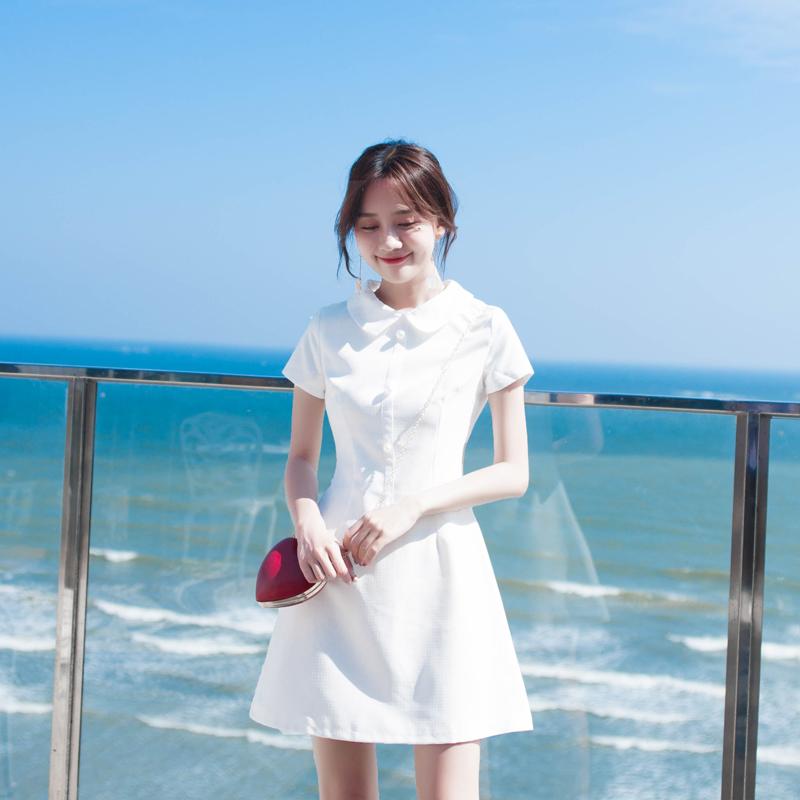 2019新款裙子夏连衣裙仙学生韩版小个子森系娃娃领小香风小白裙女热销52件不包邮