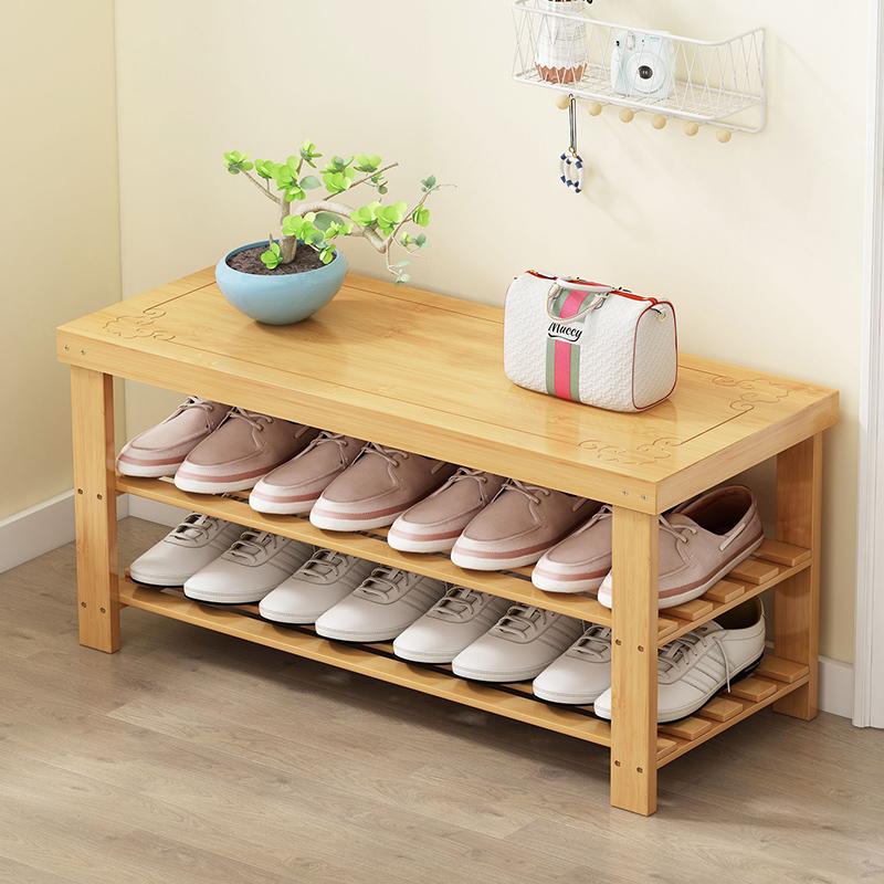 鞋架简易多层家用门口可坐穿换鞋凳防尘鞋柜经济型收纳竹架子特价