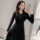 Autumn and Winter Wear Knitted dress women's long-sleeved Korean version of super fairy two-piece mesh splicing beaded temperament mid-length skirt