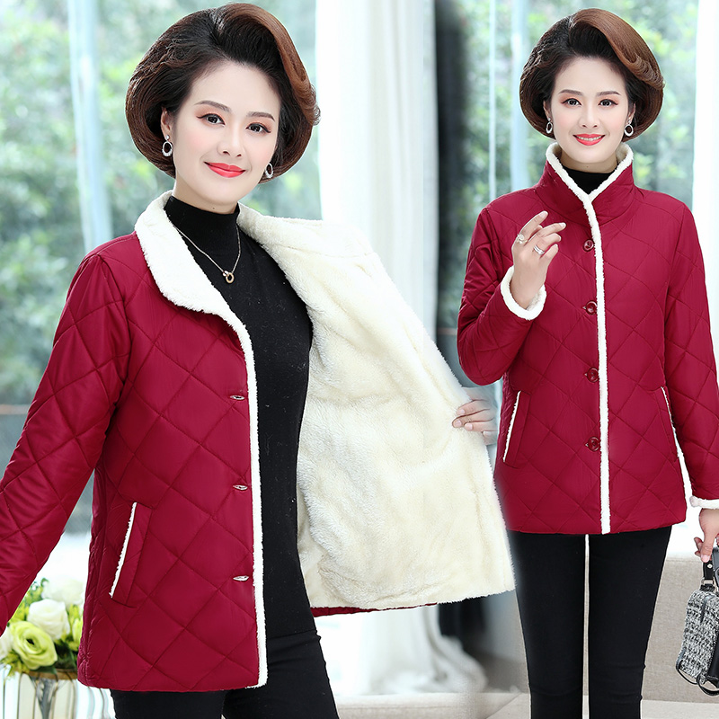Mothers winter cotton padded jacket middle-aged and old womens short plush thickened winter warm cotton padded jacket 50 year old cotton clothes