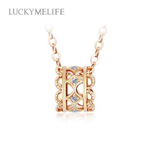【现货】LUCKYME小蛮腰项链18K金钻石项链女彩金锁骨链转运珠吊坠
