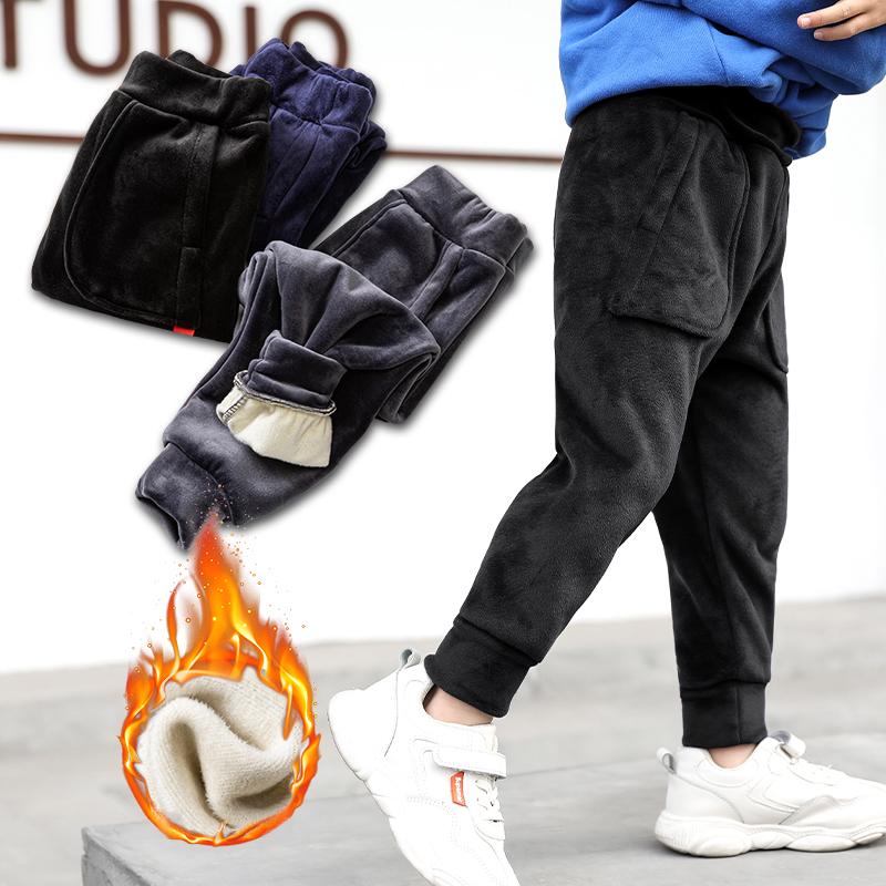 男童加绒裤子秋冬装外穿儿童棉裤加厚潮款2020新款保暖休闲运动裤