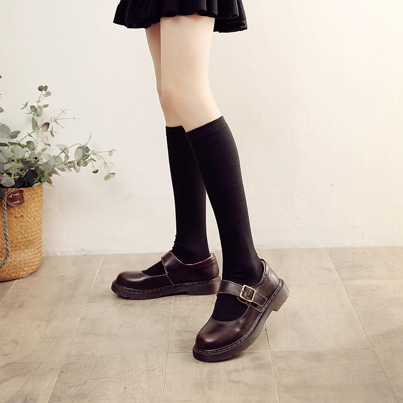 伯爵猫玛丽珍小皮鞋女lolita百搭平底日系复古一字带搭扣浅口单鞋