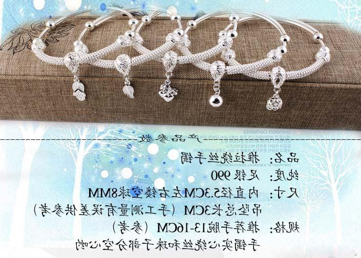 Lao Fengxiang Zuyin 990 pure silver bracelet for female Korean Students