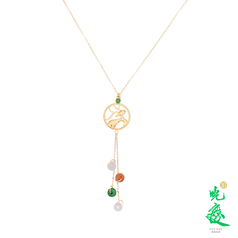 [lujiajia] Liu Xiaoqing recommends natural A-product jadeite jade 18K golden face ice seed three color jadeite Necklace