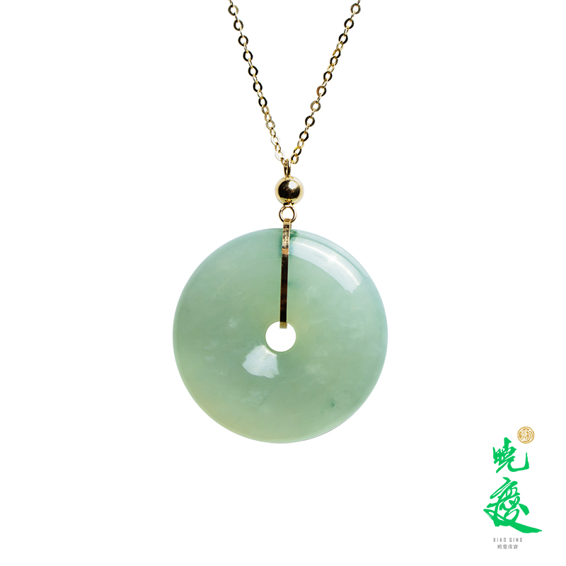 Liu Xiaoqing recommends natural A-product jadeite jade ice waxy 18 K gold safety buckle Necklace