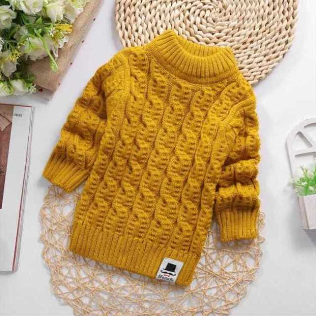 Pure hand made childrens sweater hand woven boy and girl high and low collar sleeve thickened and plush solid color knitting bottoming shirt