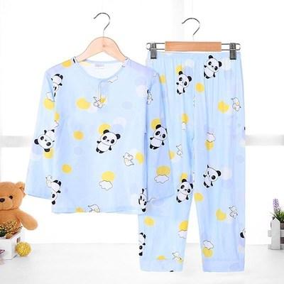 水洗卡通上衣空调服睡觉可爱儿童棉绸睡衣薄款男童夏款长袖