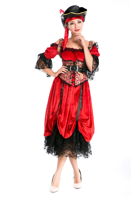 European and American game Female Pirate uniform role play Halloween Female Pirate Costume Party Costume performance Costume