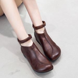19秋冬新款女短靴平底马丁靴真皮舒适英伦复古骑士靴牛皮女单靴子