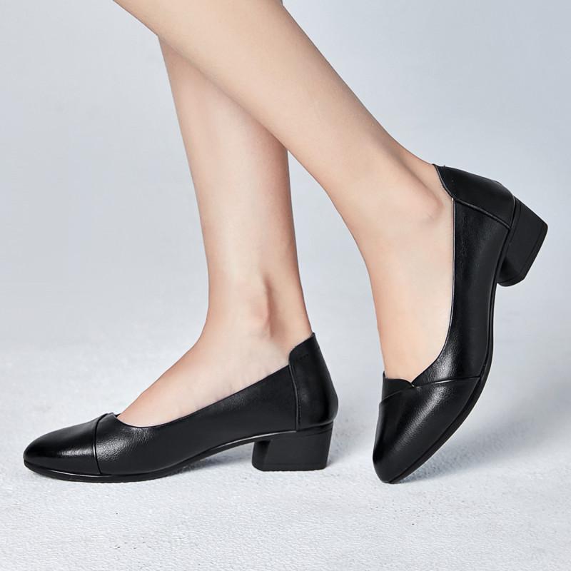 女式单皮鞋真皮中跟浅口单鞋女2019夏款上班工作鞋妈妈鞋软底舒适