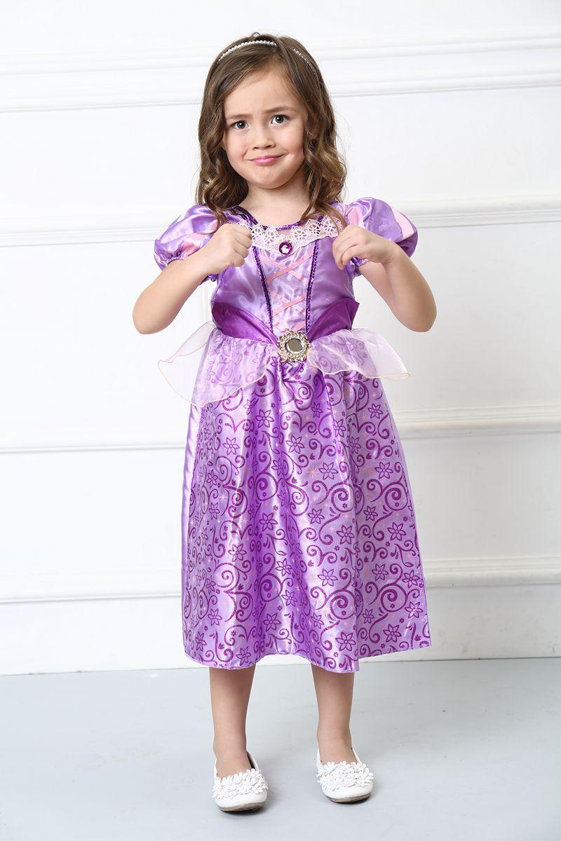 乐佩公主角色扮演服舞台表演服万圣节节紫色长发公主裙儿童