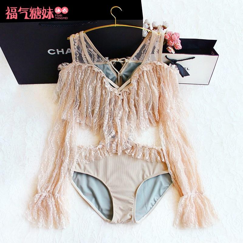 女长袖性感绑带荷叶边遮肉显瘦泳衣限1000张券
