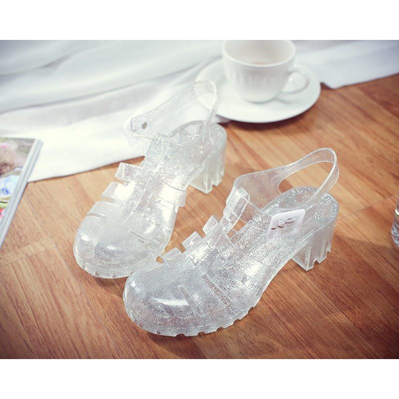 Summer lady sandals transparent high-heeled crystal shoes jelly shoes plastic sandals Baotou thick heels plastic rain shoes ROMAN SANDALS