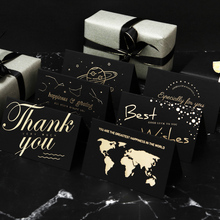 High grade black hot stamping blank birthday greeting cards ins Festival thank you little card message card with envelope