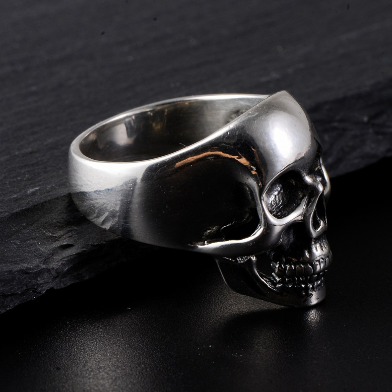 S rock personality fashion closed ring 053368 silver Euro American skeleton 925 silver man