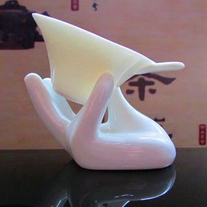陶瓷创意茶漏功夫茶过滤网纯白瓷佛手型茶滤整套带手托茶隔茶滤网