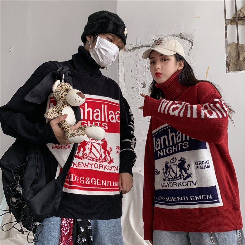 2019 new high neck sweater mens and womens Korean version winter fashion cool personality color contrast pattern lovers knitting bottoming shirt