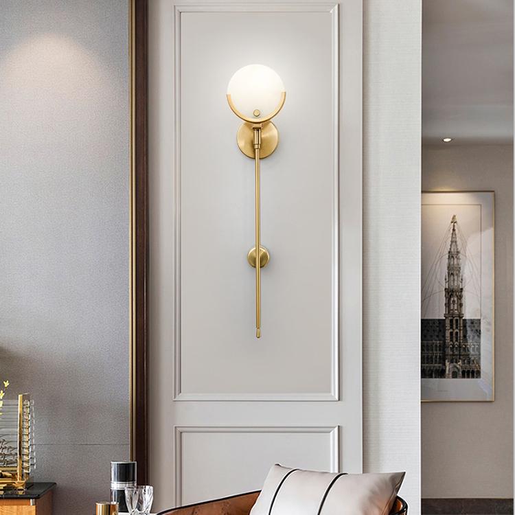 後近代的なアイデアのリビングルームの光豪華な壁ランプ無配線充電モデルルームのテレビ背景壁の雲石の壁のランプ