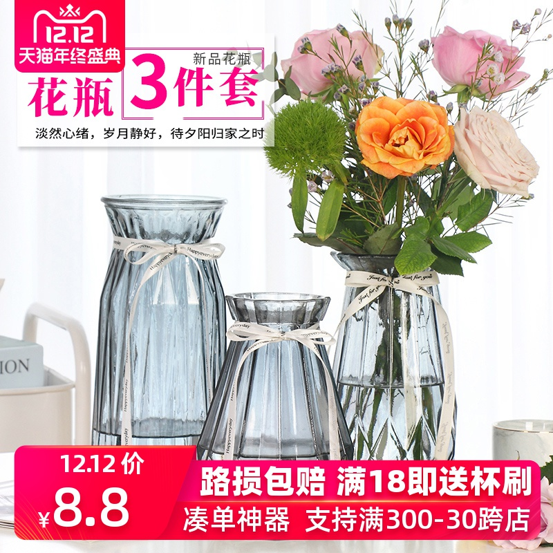 三件套玻璃花瓶彩色透明客厅摆件水培富贵竹百合鲜花花瓶插花花器
