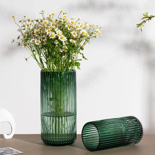 北欧简约创意玻璃花瓶透明罗马柱式花器客厅餐桌插花花瓶装饰摆件