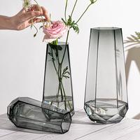 北欧简约创意玻璃花瓶透明水养插花瓶玫瑰百合花客厅摆件网红花器