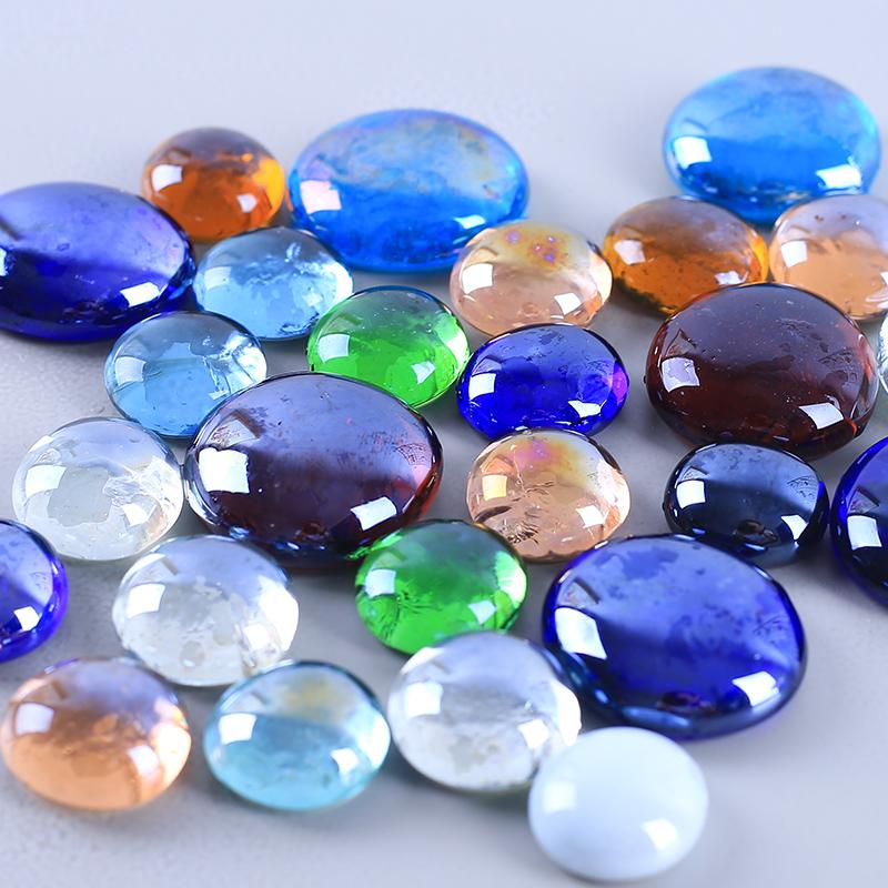 扁珠鱼缸装饰造景玻璃瓶鹅卵石雨花