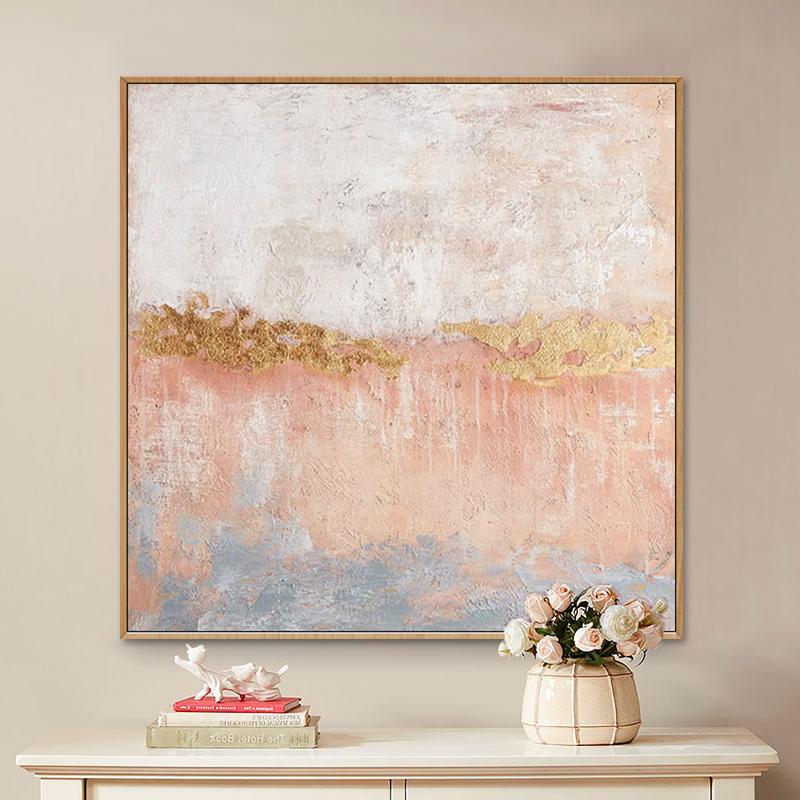 装饰画客厅抽象玄关北欧简美轻奢粉色肌理金箔手绘油画沙发背景墙