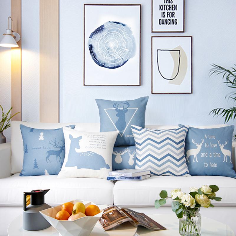北欧棉麻布艺蓝色麋鹿抱枕套抱枕