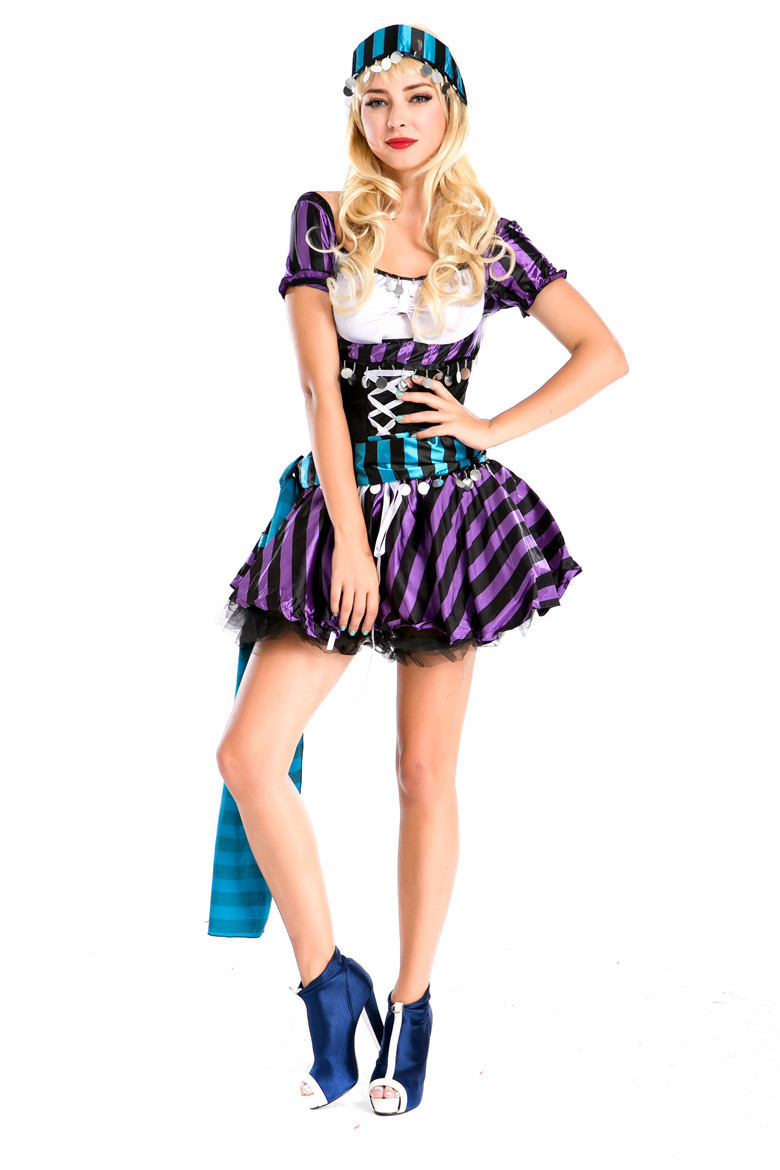 New purple Caribbean Costume Costume Costume for pirates in Europe and America