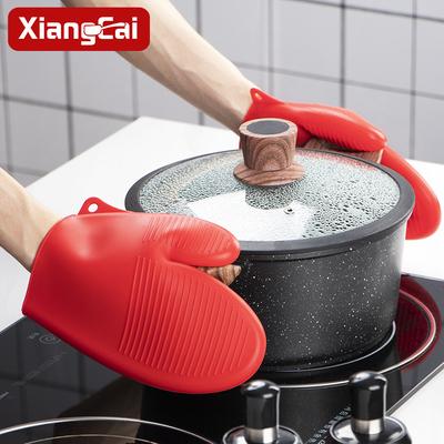 香彩厨房耐高温微波炉硅胶隔热手套炒菜烘焙烤箱专用创意条纹加厚