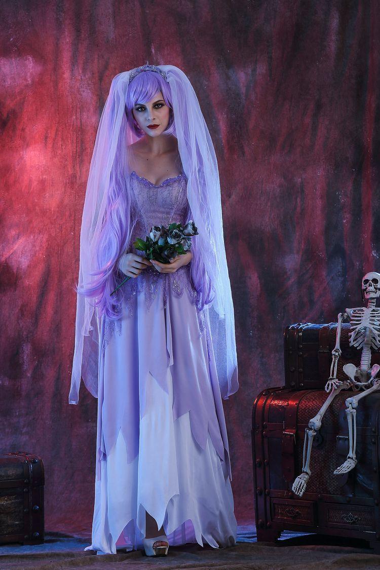 ハロウィンのコスプレは白ゾンビ鬼新婦衣装鬼節化粧舞踏会の夜店の舞台衣装です。