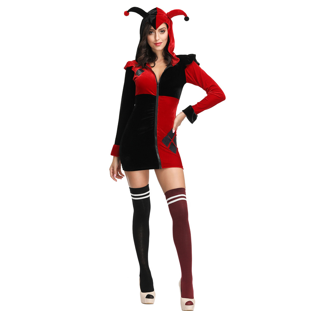 New Halloween Harlequin costume circus clown roleplaying suit red and black dress