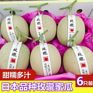 领2元券购买日本品种玫珑蜜瓜6个装网纹瓜甜瓜