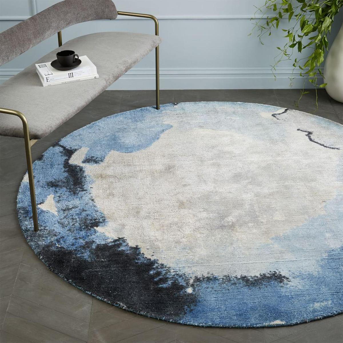 后现代轻奢圆形地毯家用北欧ins茶几卧室床边床前吊蓝电脑椅地垫
