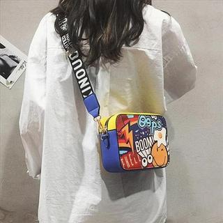 夏季涂鸦时尚宽带斜挎包女2019新款潮韩版百搭少女个性单肩小包