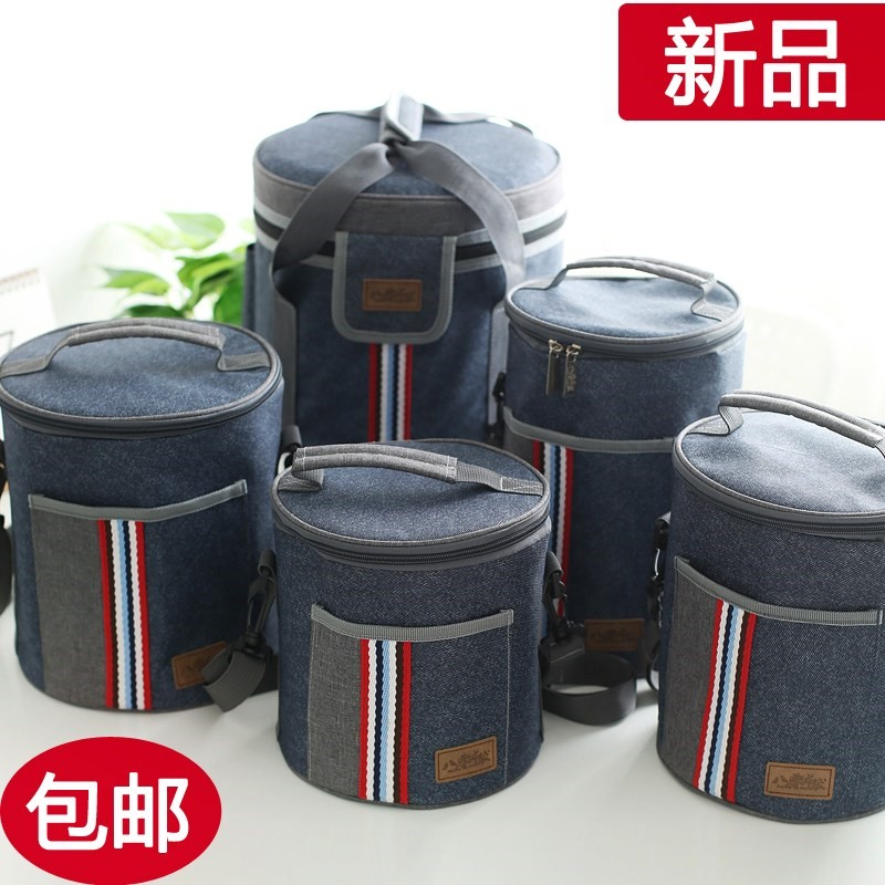 Korean Oxford cloth thermos bucket bag for work lunch box bag for carrying round rice bag