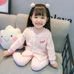 新款儿童小孩睡衣套装男女童法兰绒