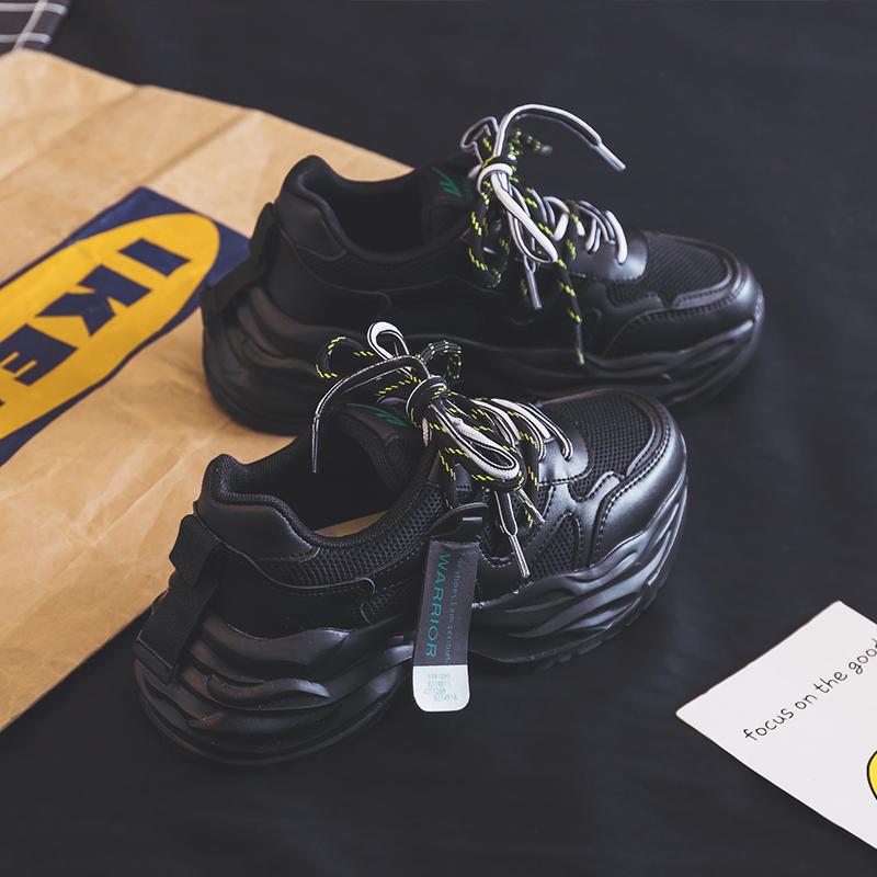 回力女鞋网红黑色老爹鞋女ins潮2020春季新款百搭超火跑步运动鞋图片
