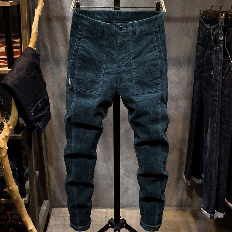 Mens trousers summer thin striped casual pants mens slim fit small feet mens Corduroy long pants elastic youth trend