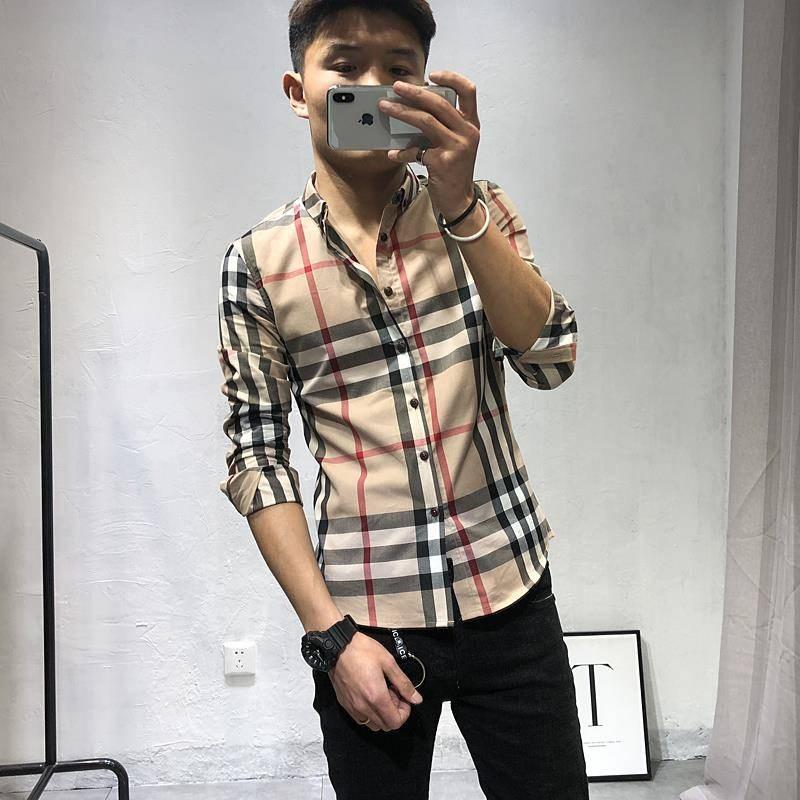 快手红人同款男士韩版修身格子衬衫春季社会精神小伙青年长袖衬衫图片